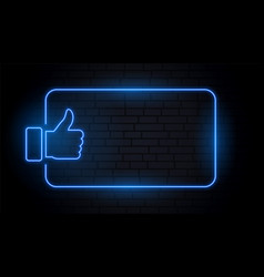 like thumb in blue neon style with text space vector image
