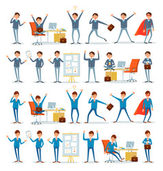 Man busy with work businessman characters at work vector