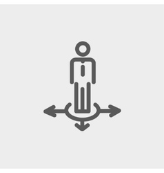 Man in three ways thin line icon vector