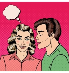 Man Whispering Secret to his Girlfriend Pop Art vector image
