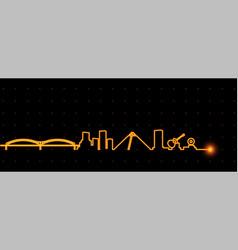 Memphis light streak skyline vector