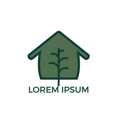 minimalist logo of house and tree leaf vector image