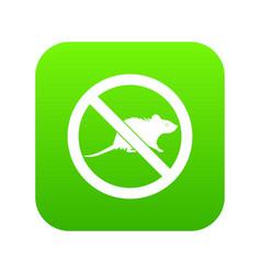 No rats sign icon digital green vector
