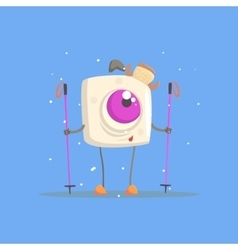 One-eyed Square White Monster On Skis In Winter vector image