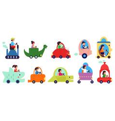 people riding cartoon childish transportation vector image
