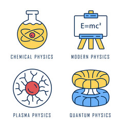 Physics branches color icons set chemical modern vector