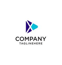 play media letter x logo design concept template vector image