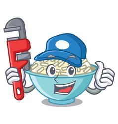 Plumber rice bowl mascot cartoon vector