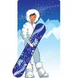 pretty snowboarder vector image