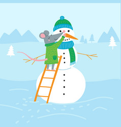 rat making snowman vector image