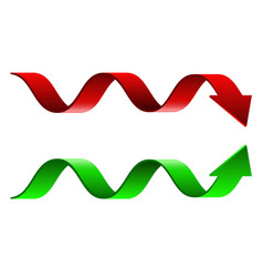 Red and green wavy arrows vector