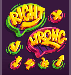 right and wrong icon cartoon set vector image