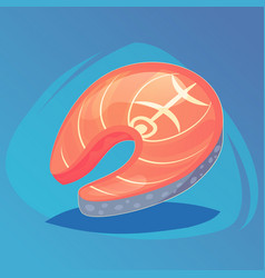 salmon steak of red fish for sushi menu food game vector image