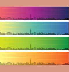 sarajevo multiple color gradient skyline banner vector image