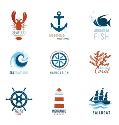 sea theme logo templates vector image