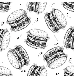 Seamless vintage burger pattern Hand drawn vector