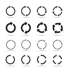 Set black circle arrows vector
