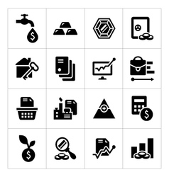 Set icons of investment and finance vector image