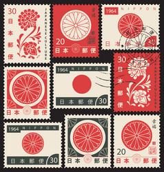 Set japanese postage stamps with chrysanthemum vector
