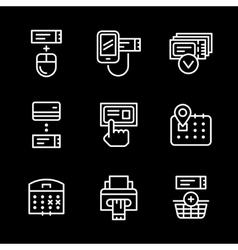 Set line icons of booking tickets vector image