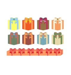 set of gift boxes in different colors vector image