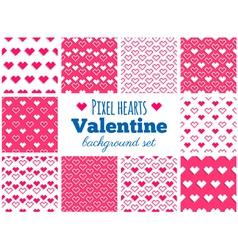 set seamless pixel art heart patterns vector image