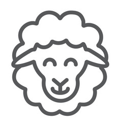 sheep line icon animal and rural lamb sign vector image