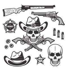 Sheriff or marshal objects and elements vector