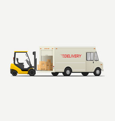 side view forklift loading boxes to delivery vector image