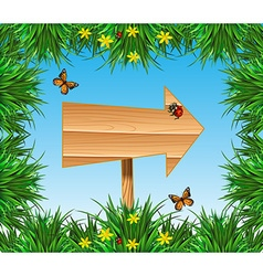 Sign with insects and plants vector