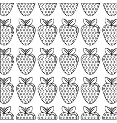 Silhouette delicious strawberry fruit background vector