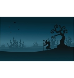 Silhouette of spruce fores and witch Halloween vector