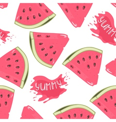Slices of watermelon seamless pattern with juice vector