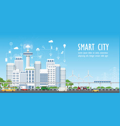 smart city on urban landscape with different icons vector image