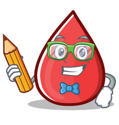 Student blood drop cartoon mascot character vector