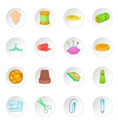 Tailoring icons set cartoon style vector image