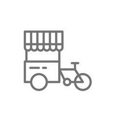 Tricycle with street fridge hot dog bicycle line vector