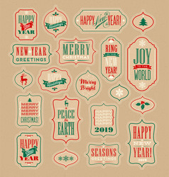 vintage holiday labels and gift tags vector image