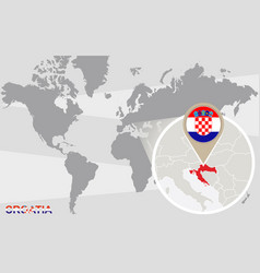 World map with magnified croatia vector