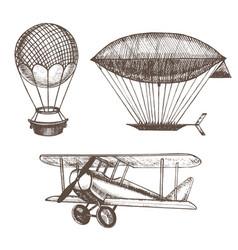 air balloons and airships hand draw sketch vector image