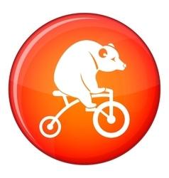 Bear on a bike icon flat style vector