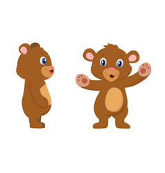 cute bear cartoon character front and sides view vector image vector image