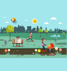 flat city park people with skyscrapers on vector image vector image