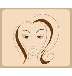Handdrawn woman face with sensual eyes and brown vector image