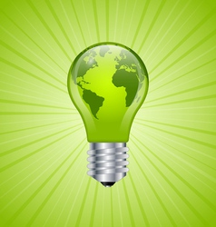 Light bulb earth icon vector image vector image