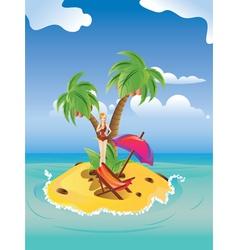 Red Bikini Girl on Island vector image vector image