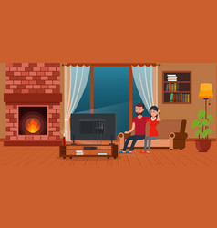 young couple sitting on sofa watching tv vector image vector image