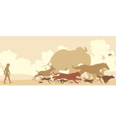 Animals fleeing man vector image vector image
