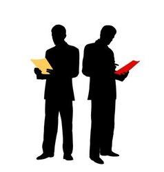 businessman reads document vector image