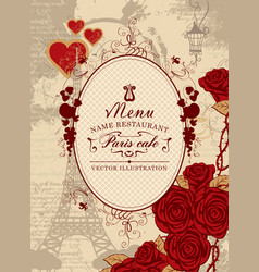 cover menu with the eiffel tower heart and roses vector image vector image
